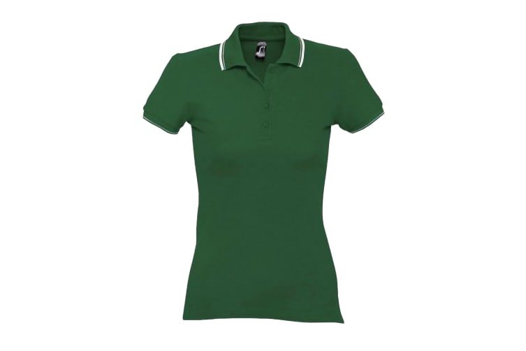 SOLS Womens/Ladies Practice Tipped Pique Short Sleeve Polo Shirt (Green/White) (L)