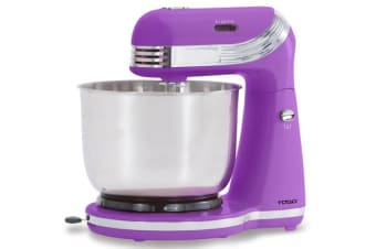 250W 6 Speed Electric Stand Mixer W/ Stainless Steel Bowl Retro Purple Xj-13406