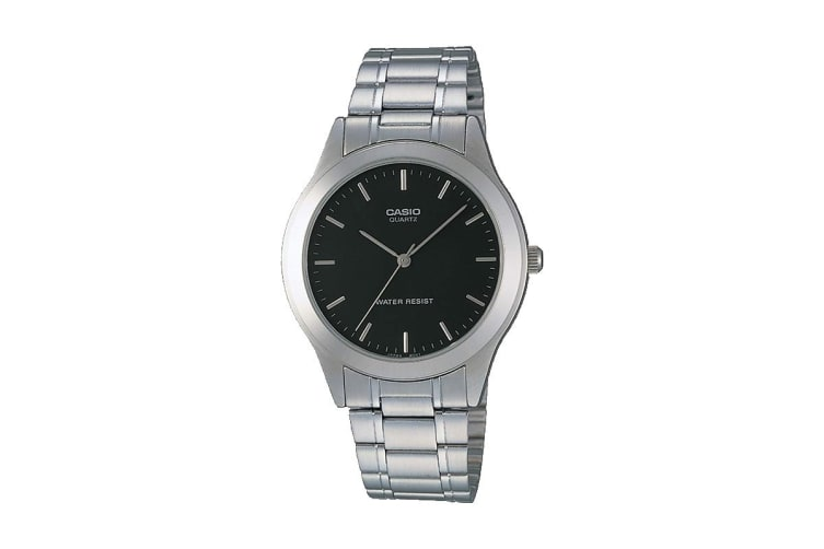 Casio Analog Vintage Stainless Steel Watch - Silver/Black (MTP1128A-1A)