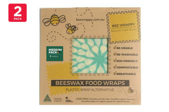2 Pack Bee Wrappy Beeswax Wraps - Medium