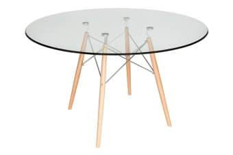 Replica Eames DSW Eiffel Dining Table | Natural Wood Legs | Glass | 120cm