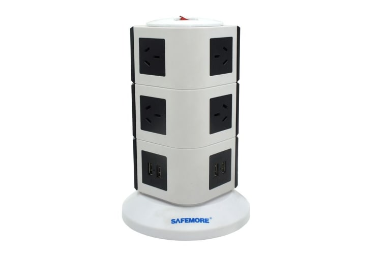 Safemore VPS Original Power Stackr 3 Level with 10 Power Outlets & 4 USB - White/Black (GL2U003-WB)