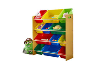 4-Tier Kids Toy Organiser 12 Bins
