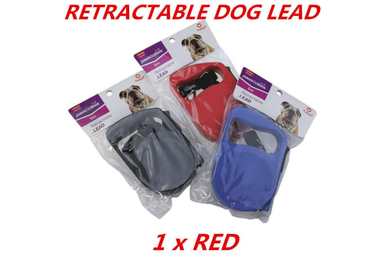 Red Automatic Retractable Extendable Traction Rope Dog Pet Puppy Walk Lead Leash 5m