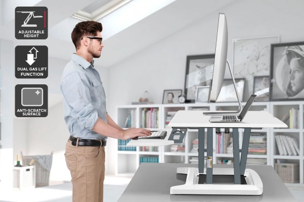 Ergolux Pro Height Adjustable Sit Stand Desk Riser (Large, White)