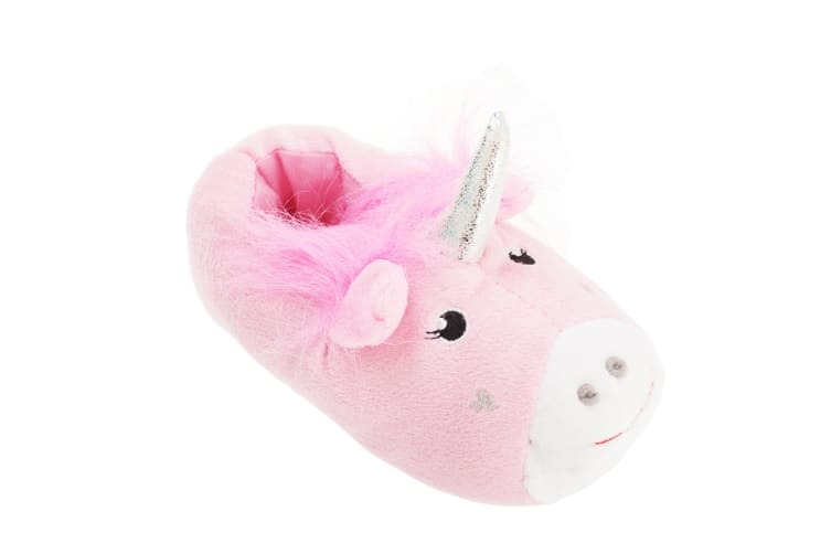 Slumberzzz Childrens Girls Unicorn Design Slippers (Pink) (UK Child 9-10 (EUR 27/28))