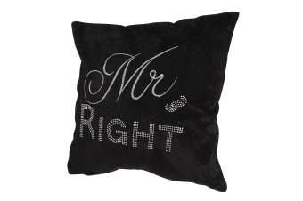 Panache Mr Right Design Sparkle Cushion Cover (Cushion Pad Not Included) (Black)