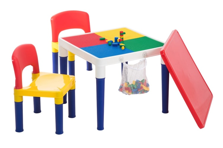 Lenoxx Kids 2 In 1 Building Block Activity Play Table & Chairs