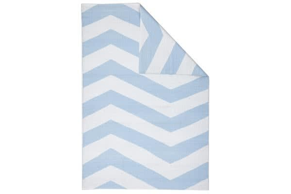 Coastal Indoor Out door Rug Chevron Sky Blue White 220x150cm