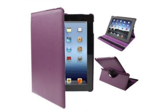 For iPad 2/3/4 Case  Rotatable Leather Durable Shielding Cover Dark Purple