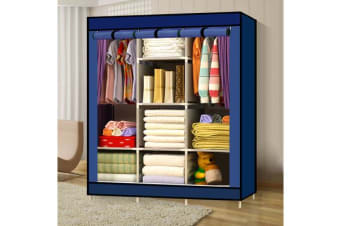 Large Portable Clothes Storage Organizer with Shelves vy Blue (E0151)