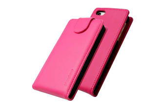 For iPhone SE 5S 5 Case iCoverLover Vertical Flip Genuine Leather Cover Magenta