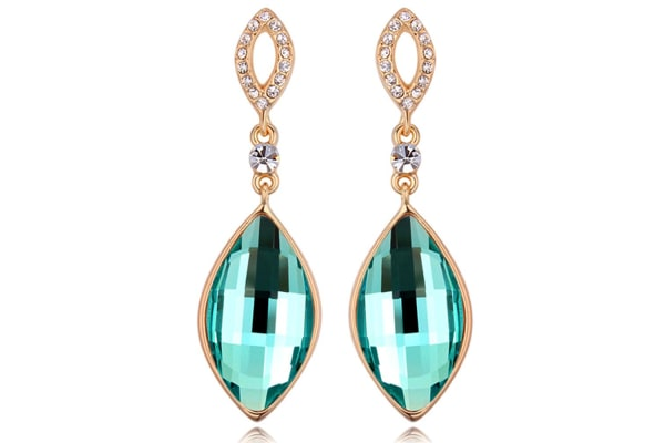 The Drop Earrings w/Swarovski Crystals-Gold/Teal