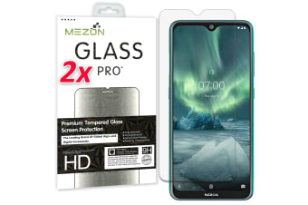 [2 Pack] Nokia 7.2 Tempered Glass Crystal Clear Premium 9H HD Screen Protector by MEZON – Case Friendly, Shock Absorption (Nokia 7.2, 9H)