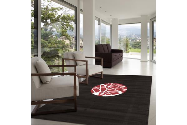 Cool Modern Rug Black Red Off White 230x160cm