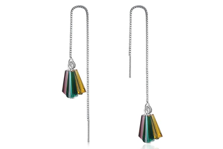 Lanabyrd Threader Earrings-White Gold/Multicolor
