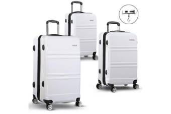 20/24/28inch Lightweight Hard Suit Case with Hand Scale (White)