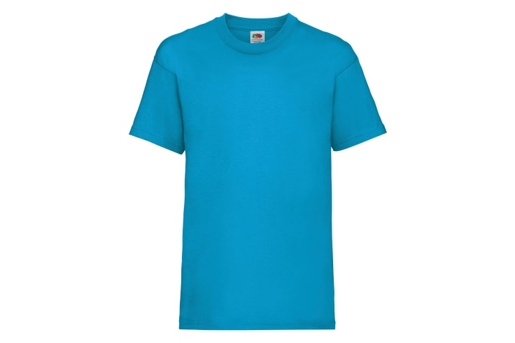 Fruit Of The Loom Childrens/Kids Unisex Valueweight Short Sleeve T-Shirt (Pack of 2) (Azure Blue) (12-13)