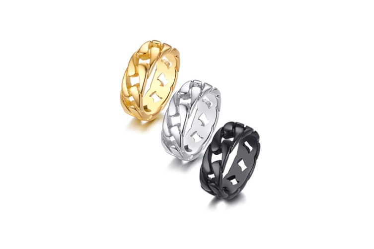 Gracious Cuban Link Chain Eternity Band Ring - Black Black 9