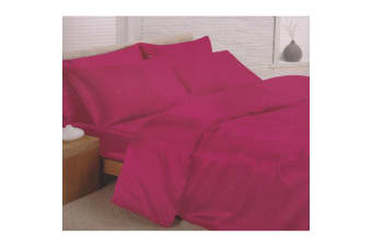 Charisma Satin Bedding Set (Duvet Cover  Fitted Sheet & Pillowcases) (Cerise) (Single Bed)