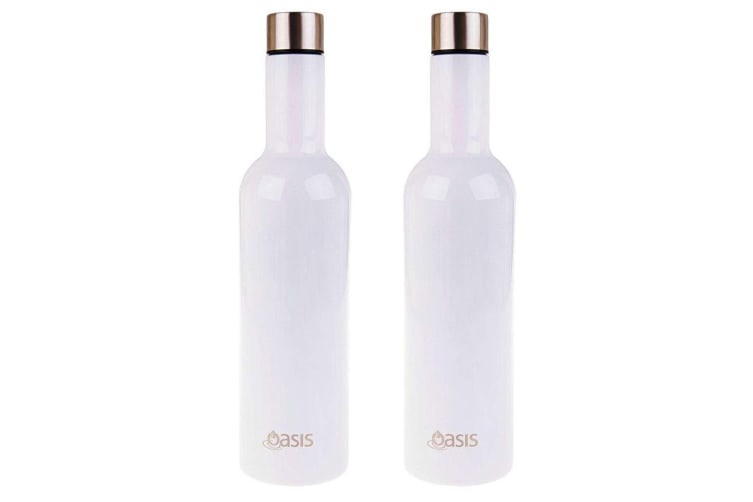 2PK Oasis Stainless Steel 750ml Double Wall Insulated Wine Traveller Bottle WHT