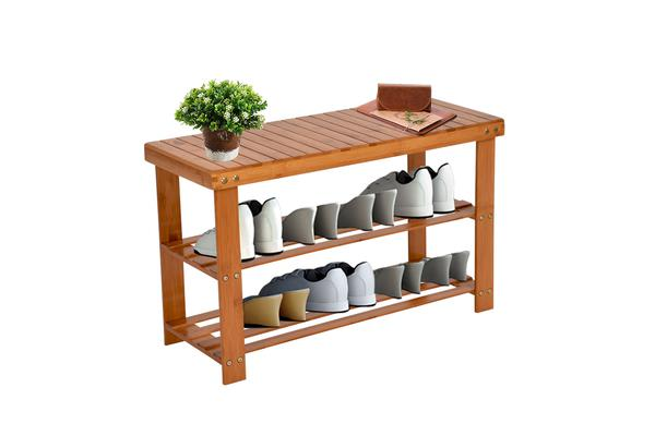 Image of 100% 2-Tier tural Bamboo Shoe Bench