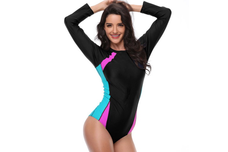 Women'S Large One-Piece Swimsuit Slim And Tight Surf Suit - Pink Pink 2XL