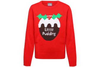 Christmas Shop Childrens/Kids Little Pudding Jumper (Pack of 2) (Red) (2-3 Years)