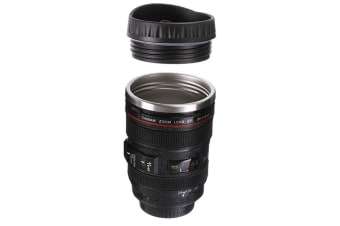Camera Lens Drinking Cup with Stainless Steel Leak-Proof Lid,Creative Design Travel Mug Thermos,Safe to Use for Drinking Coffee,Tea,Water (Black)