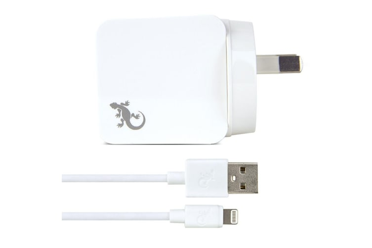 Gecko 2.4A USB Wall Charger w/ 1.5m Lightning Sync Cable for iPhone 6 7/X/XS WHT