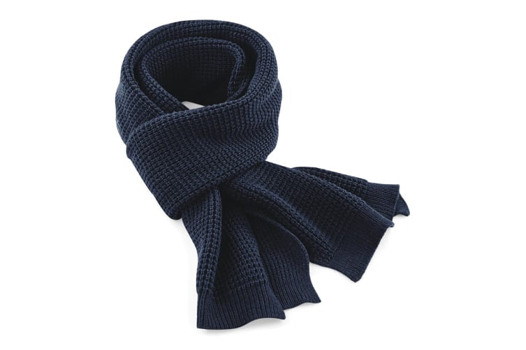 Beechfield Unisex Classic Waffle Knit Winter Scarf (French Navy) (One Size)