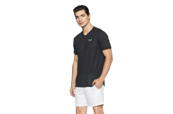 Under Armour Men's Streaker V-Neck Short Sleeve Tee (Black/Reflective)