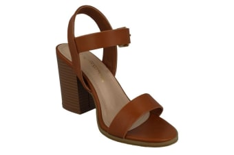 Anne Michelle Womens/Ladies Wide Fitting High Stack Sandals (Tan Synthetic)