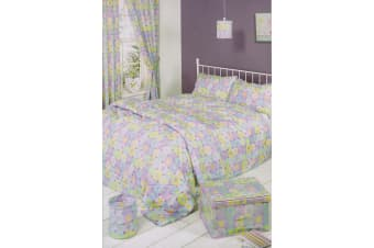 Mucky Fingers Childrens Girls Heart Patterned Unlined Curtains With Tiebacks (Multicoloured)
