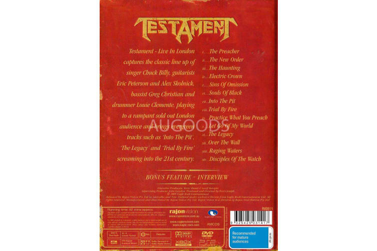 Testament - Live in London -Music Region 4 Rare- Aus Stock DVD PREOWNED: DISC LIKE NEW