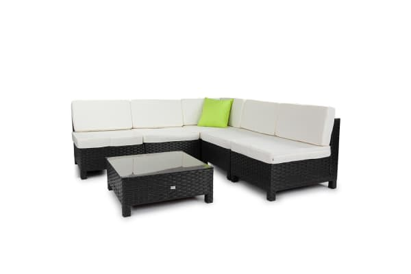 LONDON RATTAN 6pc Outdoor Patio Wicker Furniture Setting Sofa Set Lounge Black