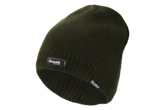 FLOSO Mens Plain Thinsulate Thermal Knitted Waterproof Winter Hat (Olive)