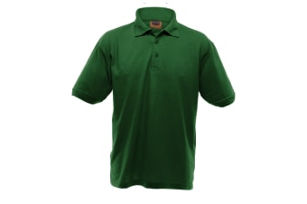 UCC 50/50 Mens Heavyweight Plain Pique Short Sleeve Polo Shirt (Bottle Green) (5XL)