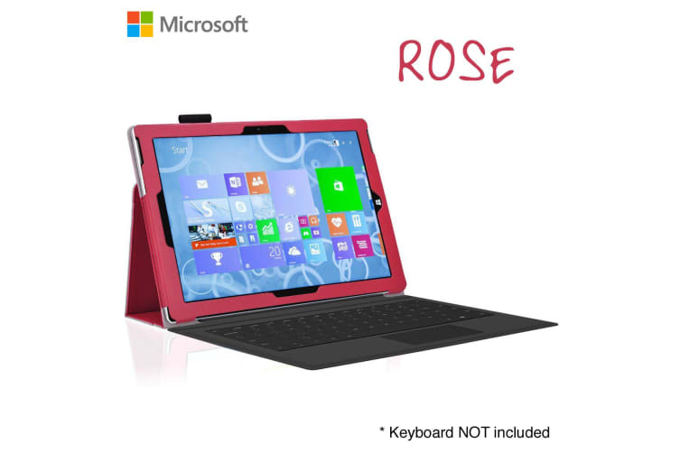 """Microsoft Surface Pro 6 / Pro 5 / Pro 4 (12.3"""") Slim Folio Flip Case by MEZON – Compatible with Type Cover Keyboard – With Screen Protector and Stylus – Rose"""