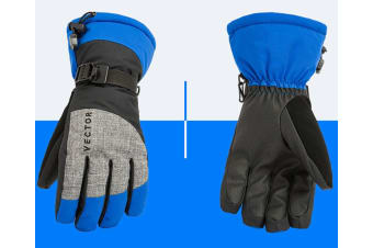 Ski Gloves,Winter Warm Waterproof Snow Gloves For Skiing,Snowboarding Blue L