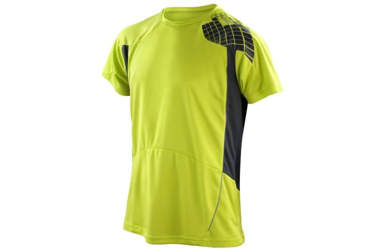 Spiro Mens Performance Sports Lightweight Athletic Training T-Shirt (Neon Lime/Grey) (2XL)