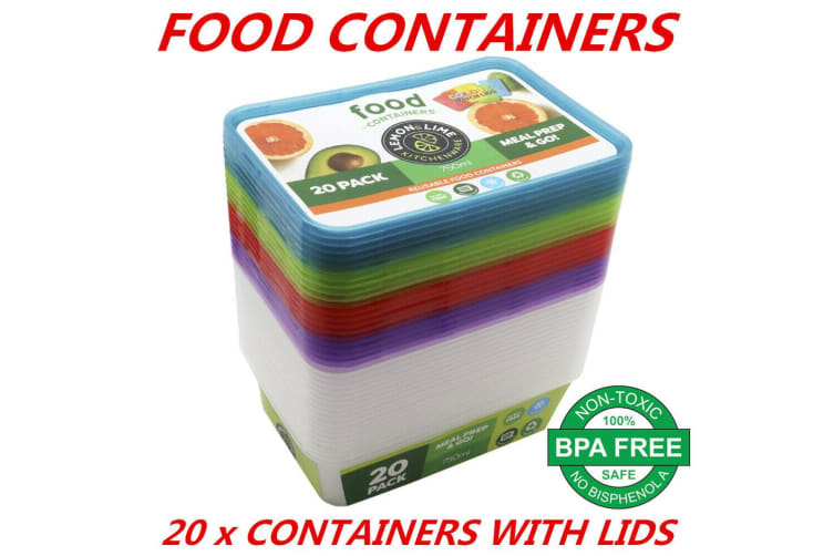 20 x Plastic Food Storage Containers 750mL w Colored Lids Freezer Microwave safe Box