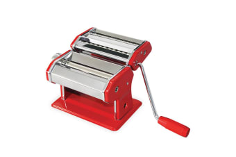 Avanti Pasta Making Machine Stainless Steel Spaghetti Fettuccine Chef Red
