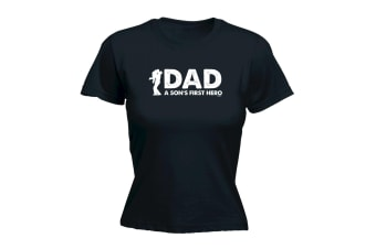 123T Funny Tee - Dad A Sons First Hero - (XX-Large Black Womens T Shirt)