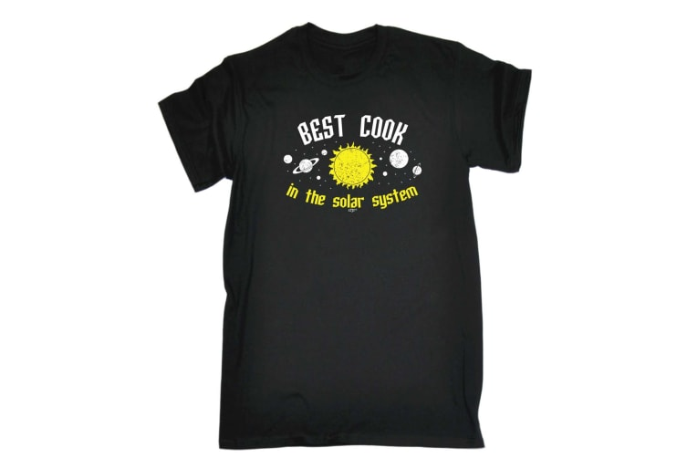 123T Funny Tee - Best Cook In The Solar System - (3X-Large Black Mens T Shirt)