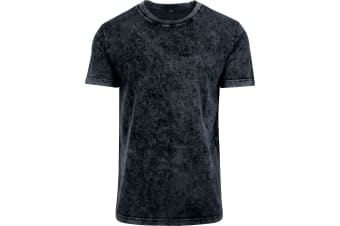 Build Your Brand Mens Acid Washed Tee (Dark Grey/White)