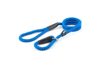Ancol Nylon Rope Slip Dog Lead With Leather Keeper (Blue) (1.5m x 1.2cm)