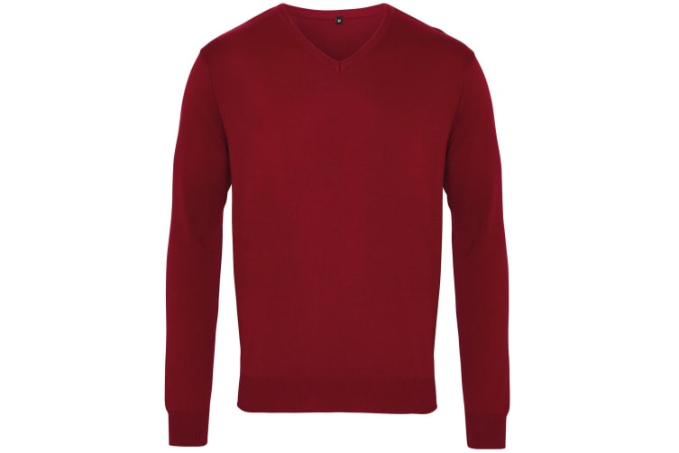 Premier Mens V-Neck Knitted Sweater (Burgundy) (M)