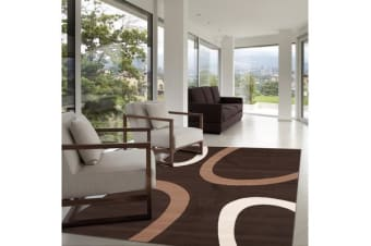 Uber Cool Cream and Brown Swish Rug 330x240cm