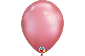 Qualatex 11 Inch Round Plain Latex Balloons (Pack of 25) (Chrome Mauve) (One Size)
